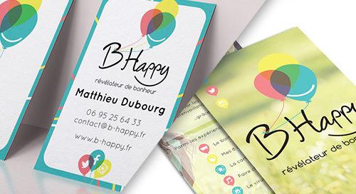 présentation des fleyr et des cartes de visites de b happy spécialiste du bonheur en entreprise