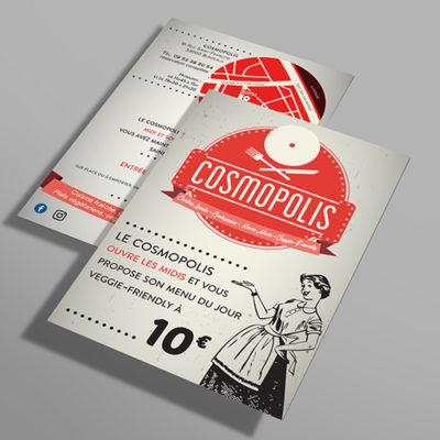 Flyer promotionnelle du retaurant biologique et végétarien Le Cosmopolis